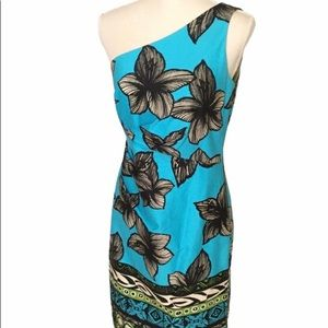 Muse Tropical Print One-Shoulder Dress